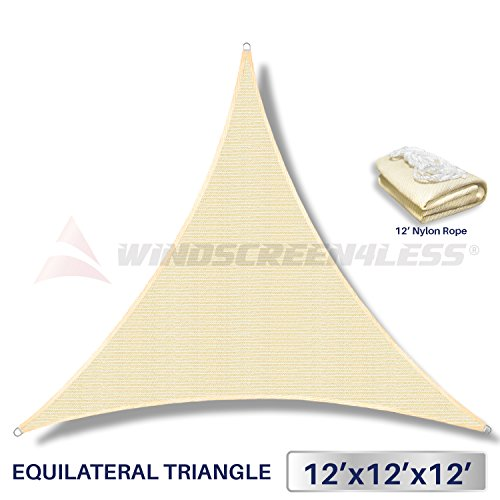 12 x 12 x 12 Sun Shade Sail UV Block Fabric Canopy in Beige Sand Triangle for Patio Garden Patio Customized Sizes Available (3 Year Warranty)