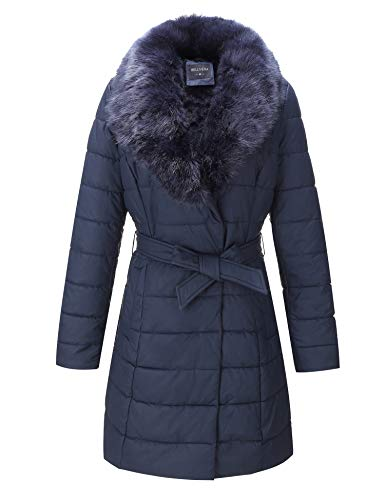 - Bellivera Faux Leather Puffer Padding Long Jacket, Women Winter Coats with Detachable Faux Fur Collar