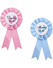 2 PCS Daddy and Mummy to Be Tinplate Badge Pins Gender Reveal Button Pins Baby Shower Badges Mommy and Daddy Gifts for Baby Shower Party Celebration