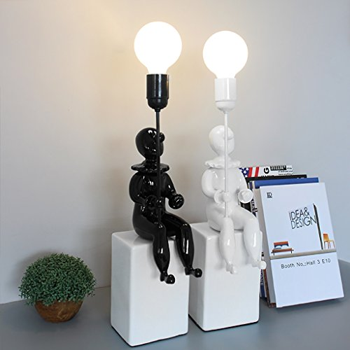 Cute Creative Clown Table Lamp Bedroom Bedside Lamp Home Fashion Decoration Creative Ornaments ( Color : White )
