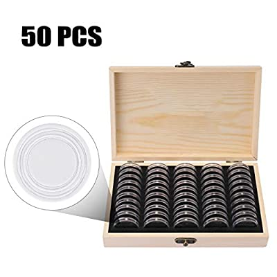 Decdeal Coins Holder, Wooden Coins Storage Box for Collectible Commemorative Coin with 50pcs Capsules Accommodate: Toys & Games