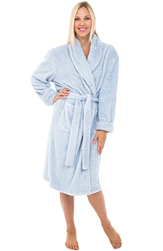 Alexander Del Rossa Womens Fleece Robe, Plush Microfiber Bathrobe, Small Medium Two Tone Light Blue (A0302CLBMD)