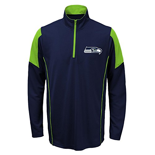 Outerstuff Seattle Seahawks Youth NFL Lightweight 1/4 Zip Pullover Long Sleeve Shirt by Outerstuff
