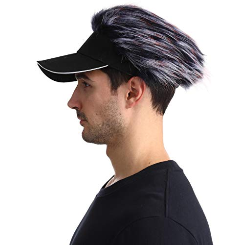 Men\'s Novelty Flair Spiked Hair Visor Sun Funny Golf Hats Fake Wig Peaked Adjustable Baseball Caps