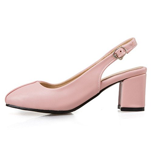 TAOFFEN Mujer Elegante Tacon Medio Slingback Sandalias Cerrado Trabajo de Oficina Zapatos Rosado