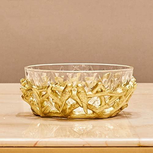 フルーツボウル 欧州のクリスタルガラス+樹脂キッチンフルーツボウルストレージラック、リビングルームフルーツスナック洋菓子ナッツキャンディープレートのディスプレイスタンド、ホームデコレーション、24x10cm