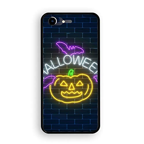 iPhone 7 Case,Tempered Glass Case Soft TPU Bumper Glowing Neon Sign of Halloween Phone Case Compatible for iPhone -