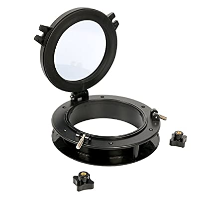 "Amarine-made Boat Yacht Round Opening Portlight Porthole 8"" Replacement Window Port Hole - ABS Tempered Glass, Color: Black, White"