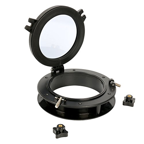 """Amarine-made Boat Yacht Round Opening Portlight Porthole 8"""" Replacement Window Port Hole - ABS & Black Tempered Glass"""