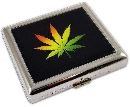 Pot Plant Leaf Metal Cigarette Case King Size Double Sided (Pot Leaf COLORS)
