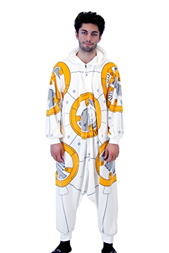 Star Wars Onesie Adults (Star Wars BB8 Droid Polyester One Piece Zip Up Pajama Kigurumi (Adult)