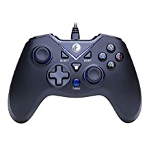 IFYOO V-one Vibration-Feedback USB Wired Gamepad Controller Joystick Support PC(Windows XP/7/8/8.1/10) & PS3 & Android (Xbox architecture) - [Black&Blue]