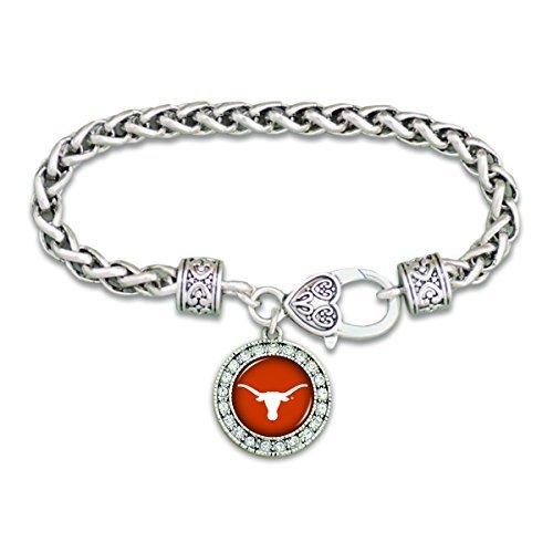 FTH Texas Longhorns Clasp Bracelet with Round Team Logo and Embellished with - Bracelet Logo Team