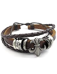 Konov Jewelry Leather Mens Womens Bracelet, Fleur De Lis Charm Bangle, fit 7-9 inch, Brown, with Gift Bag, C23045