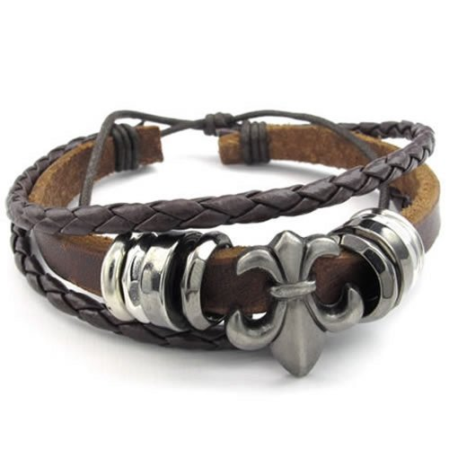 KONOV Mens Womens Leather Bracelet, Fleur De Lis Charm Bangle, Fit 7-9 inch, Brown 7 Inch Fleur De Lis