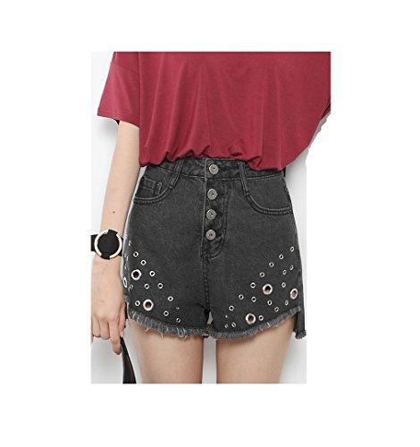 Oudan Femme Shorts Dechir Fendu Taille Haute Jeans Court Trou pour Et Noir