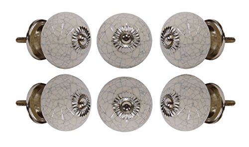 Set of 6 Ceramic Crackle Off White Drawer Knobs Kitchen Cabinet Dresser Pull
