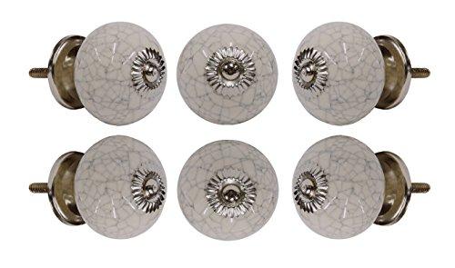 Off White Ceramic Cabinet (Set of 6 Ceramic Crackle Knob Off White w/Chrome Finish Kitchen Cabinet Cupboard Door Knobs Dressser Wardrobe and Drawer Pull By Trinca-Ferro)