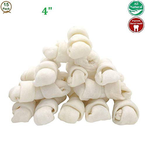 FreedomDesign Rawhide Knot Bones Dog Bulk Treats Chews Natural Rawhide Healthy Dog Teeth 4