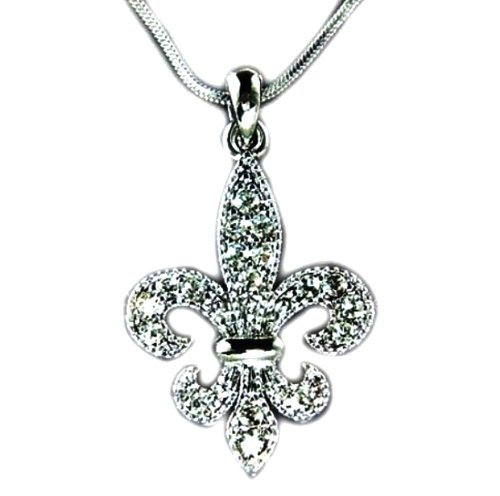 DianaL Boutique Fleur De Lis Austrian Crystal Charm Pendant and Necklace Gift Boxed Fashion - Lis Crystal Pendant De Fleur