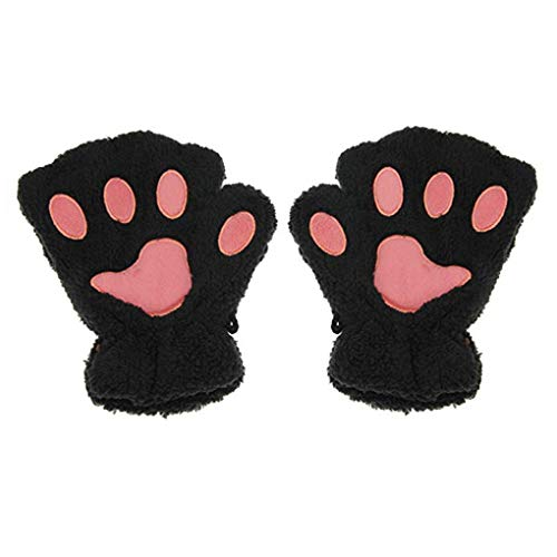 Women Girls Cute Cat Kitten Bear Plush Paw Claw Fingerless Gloves Faux Fur Bear Hand Gloves Soft Winter Gloves Mittens Halloween Cosplay Fancy Party Dress up Role Play Props Xmas Gift -