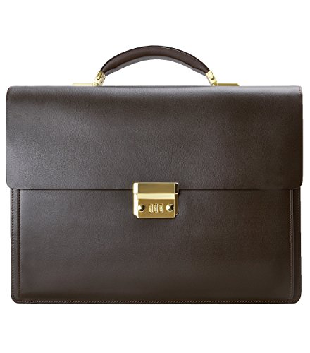 ZLYC Men Leather Flap Over Laptop Messenger Bag Formal Briefcase Combination Code Business Bag, Coffee by ZLYC