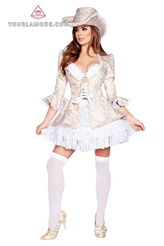 Marie Antoinette Outfits (Roma Costume 4pc Marie Antoinette Costume Bundle with Pink Shorts)