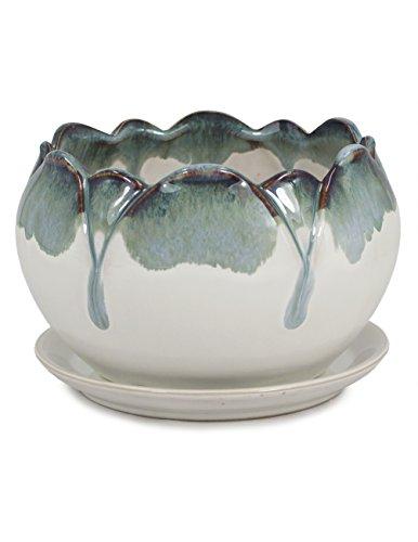 Dahlia Paint Drip Glazed Ceramic Succulent Planter/ Plant Pot/ Flower Pot/ Bonsai Pot, Grey Petal