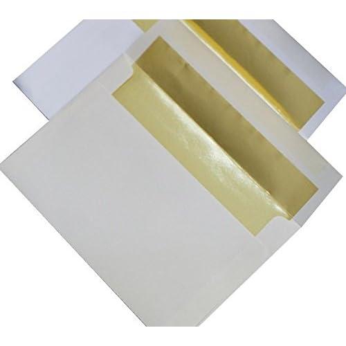 Hot A8 FOIL LINED Envelopes - Softwhite 32T Envelopes with Gold Foil Lining - 50 PK for sale trZ42tfI