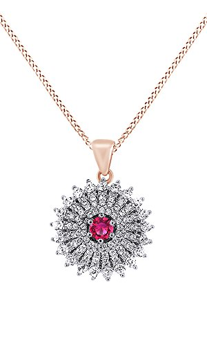 (AFFY Simulated Tourmaline & White Cubic Zirconia Cluster Pendant Necklace in 925 Sterling Silver (1.56 Cttw))