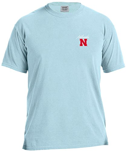 NCAA Nebraska Cornhuskers Adult NCAA Marquee Comfort Color Short sleeve T-Shirt,XL,Chambray
