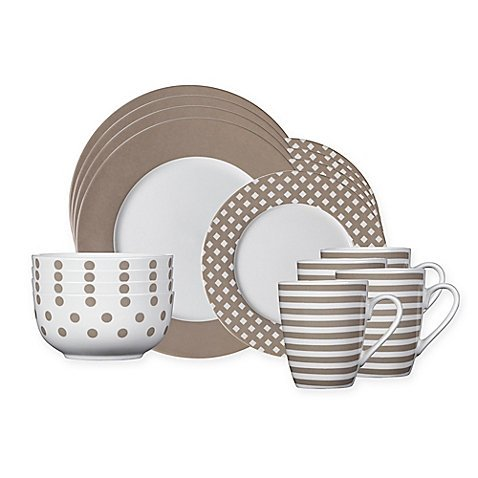 (Pfaltzgraff Kenna 16-Piece Dinnerware Set in Taupe, Four 10-1/2