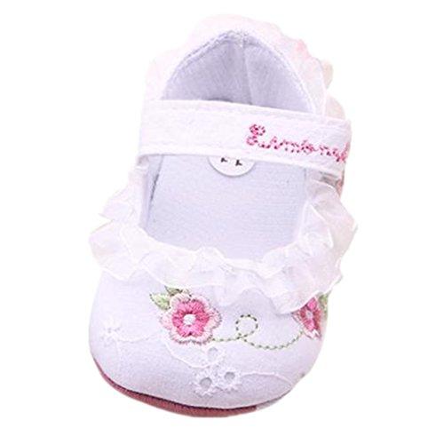 Clode® Criança Bebê Menina Bordado Sapatos De Pano Solas Sapatos Berço Suaves (branco)