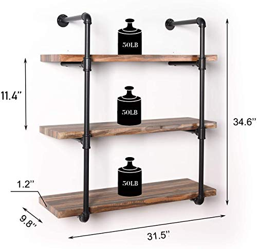 IRONCK Industrial Shelving Pipe Shelf 3-Tier, Planks Included, Rustic Home Decor Wall Decor, Wall Shelves for Bedroom… 2