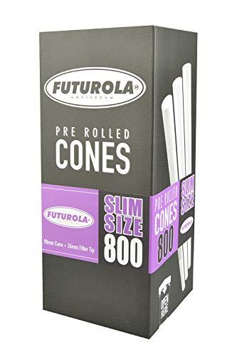 800pc Box - Futurola Slim Size Cones - 3 3/4'' / White by FUTUROLA (Image #1)