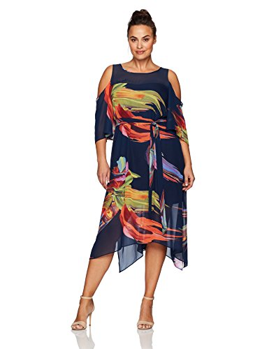 Size Plus Robbie Dresses Bee (ROBBIE BEE Women's Plus Size Printed Chiffon Hanky Hem Dress with Cold Shoulder, Navy Multi, 24W)