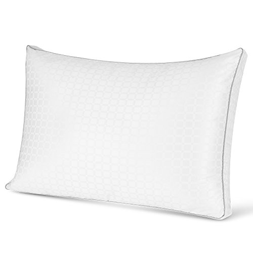 Jiaao 2-in-1 Ventilated Memory Foam & Fiber Fill Pillow Plush Gusset Pillow for Sleeping, Perfect for Side, Back and Stomach Sleepers, Hypoallergenic & Dust Mite Resistant, Standard Size, (1 (Shoulder Stand Foam)