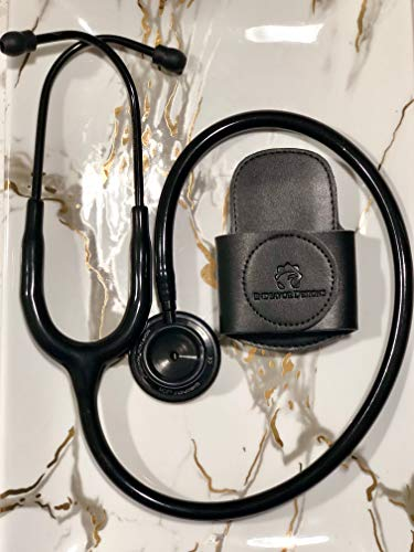 SECURE-A-SCOPE-100% Black Genuine Leather Stethoscope Holder with Rotatable Clip for All Models: ADC, MDF, Adscope, Littmann. Perfect for Physicians, Nurses, EMT, Medical Nursing ()
