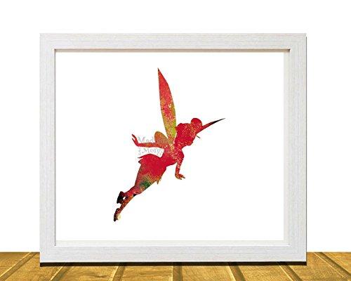 Tinkerbell Peter Pan Inspired Wall Art, Watercolor Disney Inspired Art, Kids Room Decor, Kids Wall Art, Baby Shower Gift, Nursery Art, Unframed, Printed on Archival Matte Premium Photo Paper ()