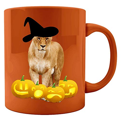 Halloween Lioness Witch Hat Jackolanterns - Colored Mug