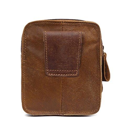 VBIGER Men Cowhide Waist Bag Retro Waist Pack Fanny Bag Cellphone Waist Pouch by VBIGER (Image #1)