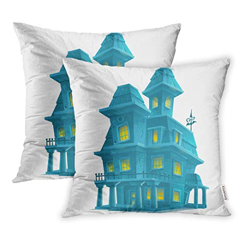 Emvency 18x18 Inch Decorative Set of 2 Throw Pillow Cover Horror Preview Scary Haunted House in Halloween On Abstract Square Home Cushion Sofa Two Sides Pillow Case -