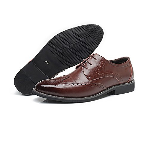Jiuyue-shoes, 2018 Scarpe brogue in vera pelle da uomo Wingtip Hollow Carving Lace Up Business traspirante Low Top foderato Oxford Scarpe Uomo Pelle (Color : Blu, Dimensione : 48 EU) Marrone