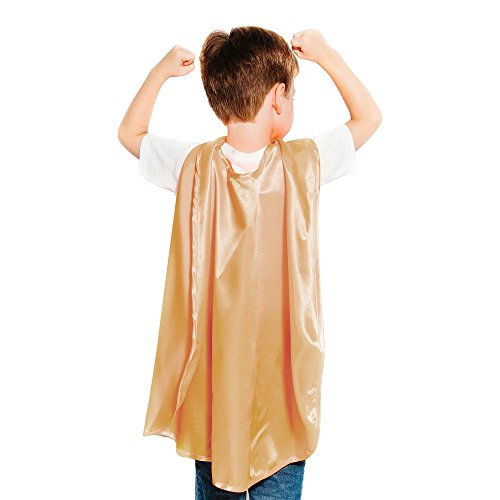 Gold Polyester Satin Superhero Cape - (Gold Capes)