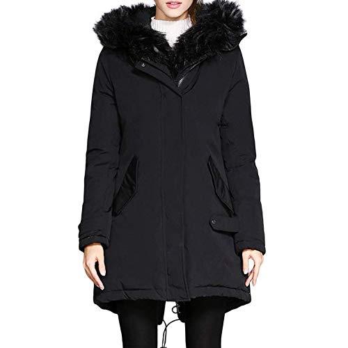 Abotonado De black Abrigo Outwear Caliente Las amp;clothes Chaqueta Abajo Mujeres s Dd Felpa Con Parka Piel Capucha qAwZnt4z