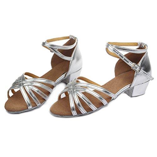 Salle Uk202 Ykxlm Pour Standard Filles Chaussures Bal Modle De Latine Danse Femmes Argent Et qtw68761x