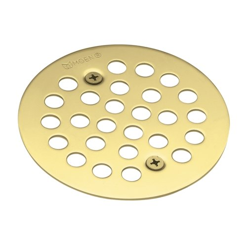 Gold Shower Drain - Moen 101664P Kingsley 4-1/4-Inch Screw-In Shower Strainer, Polished Brass