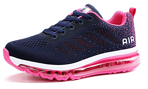 TSIODFO hot Pink Tennis Shoes for Women Flyknit Breathable Comfort air Cushion Athletic Walking Shoes Gym Workout Ladies Sports Trail Running Shoe Size 7 (833_Rosered-37)
