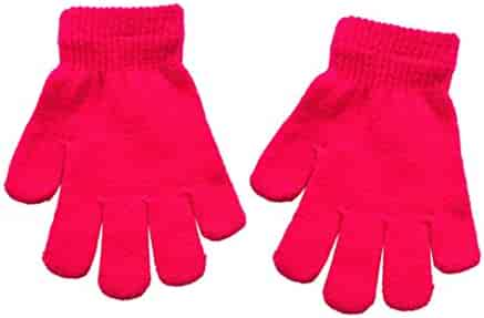LandFox Infant Baby Cute Solid Print Winter Warm Gloves Hot Pink
