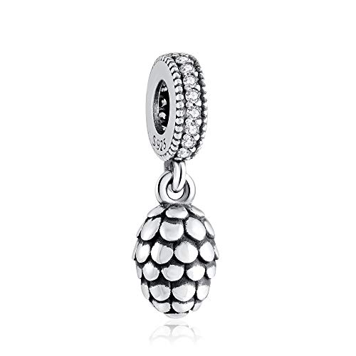 Angemiel 925 Sterling Silver 5A Cubic Zirconia Dangle Charms Cedar nut Pendant Jewelry for Bracelets Necklaces Best Gift
